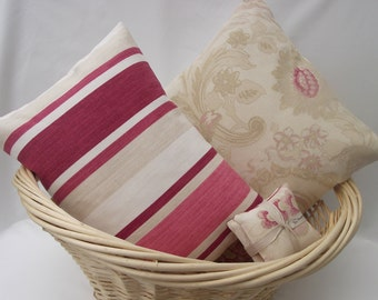 Laura Ashley Two Cushions, Handmade Red and Beige Laura Ashley Cushions, Awning Stripe and Floral Cushions, Plus  Lavender Sachets.