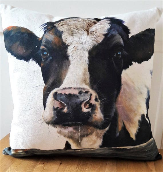 Black and White Cow Cushion, Cow Face Pillow, Art Print from Wendy Darker  Farmyard Range, Organic Fabric with Zip fastening