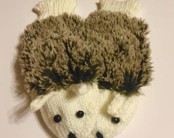 Hedgehog Mittens Winter White
