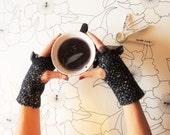 Fingerless gloves, sleeves, mix wool, blue jersey lined, winter gloves, warmers, gift idea