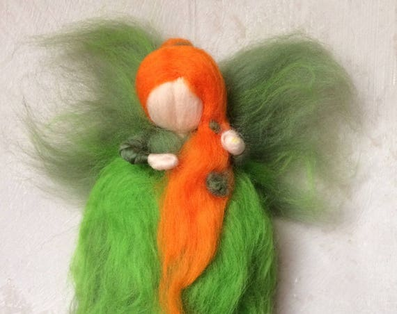 Fairies, Angels in carded wool Merino-green, orange