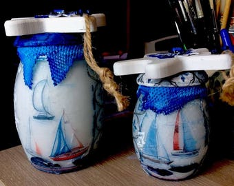 Set of 2 glass Theme sailor art Creation Original Pots Tride