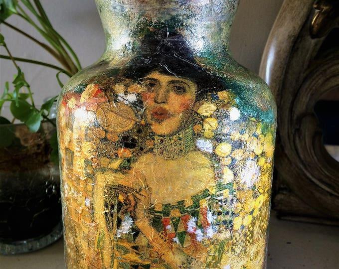 Featured listing image: Klimt Portrait of Adele Bloch Bauer style glass vase