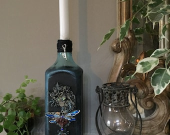 Blue skull woman bottle