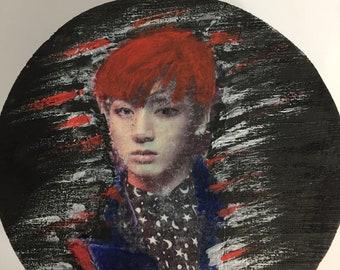 Kpop BTS JungKook round wooden box