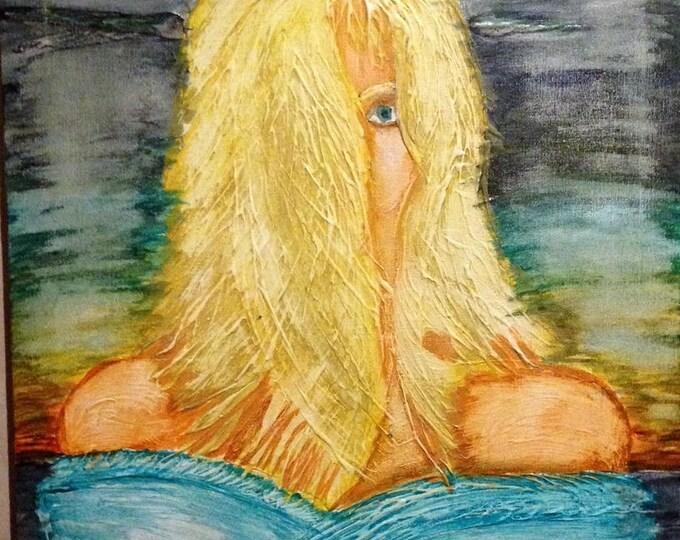 Featured listing image: Twilight wind woman art print