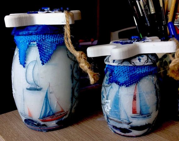 Set of 2 glass Theme sailor art Creation Original Pots Tride