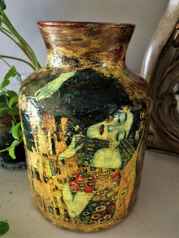 Klimt - the kiss style glass vase