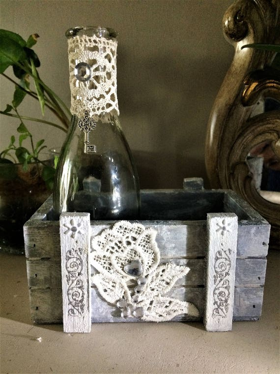 Storage - wood box 1-shabby romantic chic