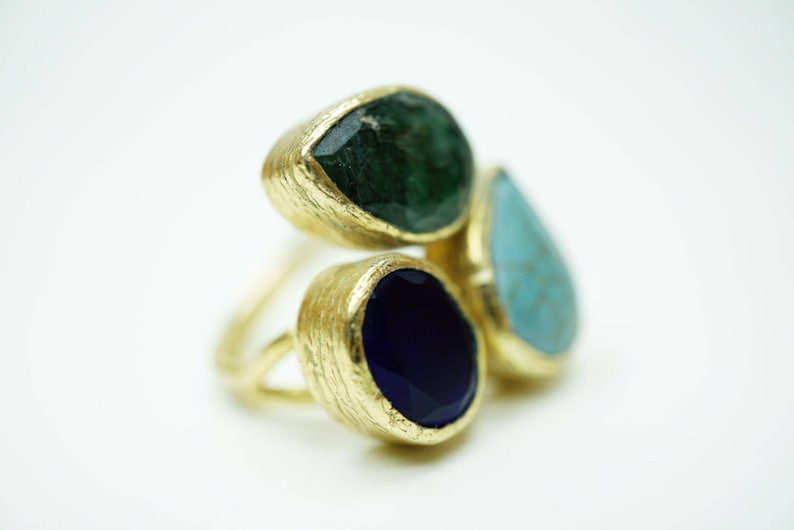 Mix Gemstone Ring Gold plated bronze  Handmade Unique green emerald turquoise  blue zirkon stone adjustable ancient Gift for Mother Ancient