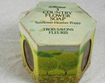 St Michael Country Flower Soap Bars Vintage Soap Bars Gift Box  3 Soap Bars