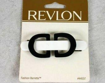 Vintage Revlon Fashion Barrette Hair Clip Black And White Revlon Retro Hair Clip 1997