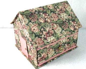Beautiful Vintage House Jewelry Box Floral Jewelry Box Vintage Fabric Jewelry Box