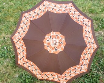 Vintage Orange Brown Umbrella Unique Umbrella Retro Rain Or Sun Umbrella Vintage Parasol Hand Carved Umbrella Handle