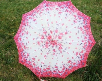Vintage Pink And Purple Flower Umbrella Unique Umbrella Retro Rain Or Sun Umbrella Vintage Parasol Hand Carved Umbrella Handle