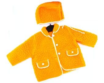 235393be662d5e Baby douche cadeau Baby jas en motorkap Hat 60s grootte 1-3 jaar oranje wol  jas Hooded Baby jas