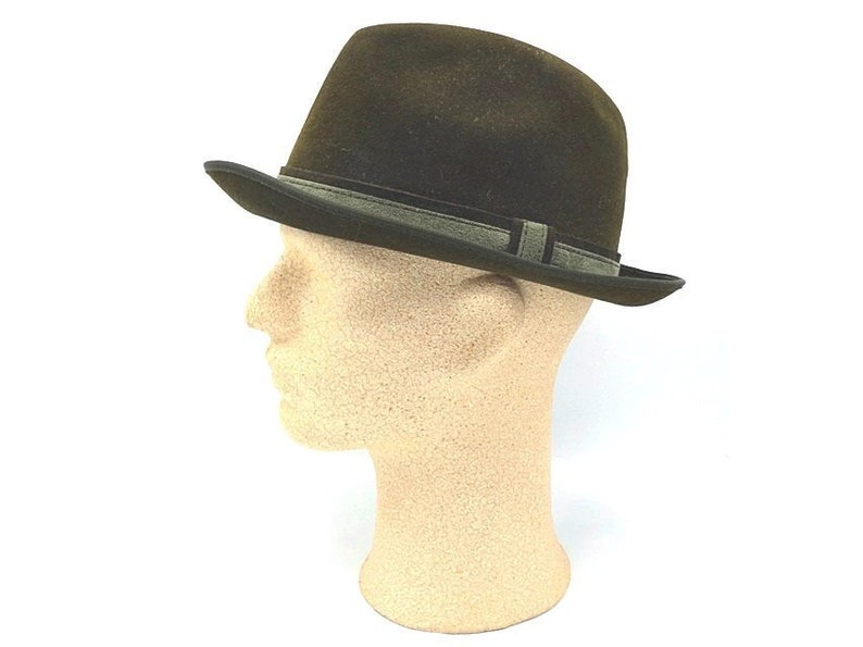 0ac478f24dd Vintage Dark Green Mens Homburg Hat Huckel Wool Hat Satin