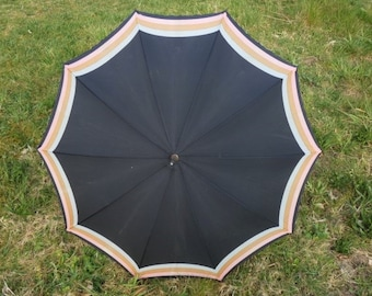 Vintage Black Pink Beige Gray Umbrella Unique Umbrella Retro Rain Or Sun Umbrella Vintage Parasol Hand Carved Umbrella Handle