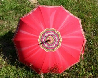 Vintage Red Umbrella Unique Umbrella Retro Rain Or Sun Umbrella Vintage Parasol Hand Carved Umbrella Handle