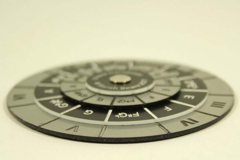 Chord Transposer, Chord Wheel, silver and black, 95mm, music theory aid,  REDUCED PRICE
