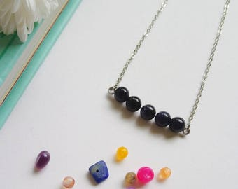 Dainty Blue Goldstone Bar Necklace