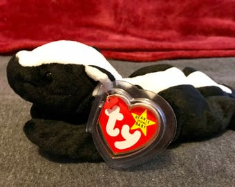"""Presenting """"Stinky"""" a rare, mint condition, skunk, handmade, vintage, collectible TY Beanie Babies"""