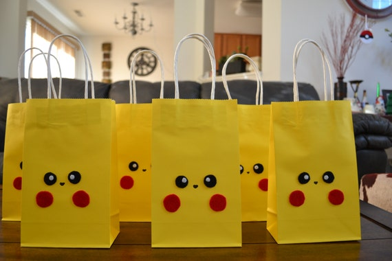POKEMON PIKACHU FAVOR Bags Set Of 12 Pokemon Inspire Favor