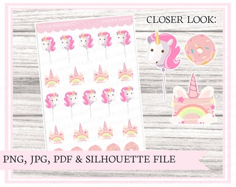Unicorn party | Pink stickers | party stickers | birthday stickers | celebration | Printable planner stickers | Bullet journal | Cut file