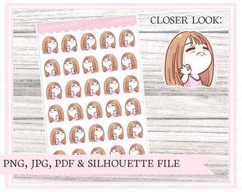Dani, okay | Character sticker | Sassy planner stickers | Mood stickers | Printable planner stickers | Bullet journal | Cut file