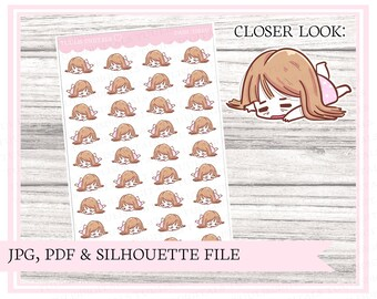 Dani, tired | Character stickers | Mood | Nope | Printable plannerstickers for your filofax, bullet journal, digital planner etc | Cut file