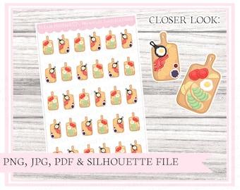 Breakfast food platters | breakfast stickers | food sticker | planning stickers | Printable planner stickers | Bullet journal | Cut file