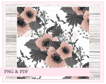 PRINTABLE vellum, Moody florals || perfect for snail mail, happy mail, swaps, penpals, travelers notebooks, journaling, planners etc.