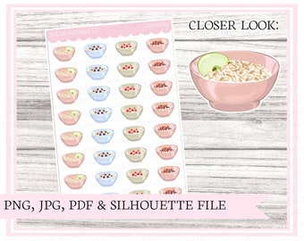 Oatmeal | breakfast stickers | food sticker | planning stickers | Printable planner stickers | Bullet journal | Cut file