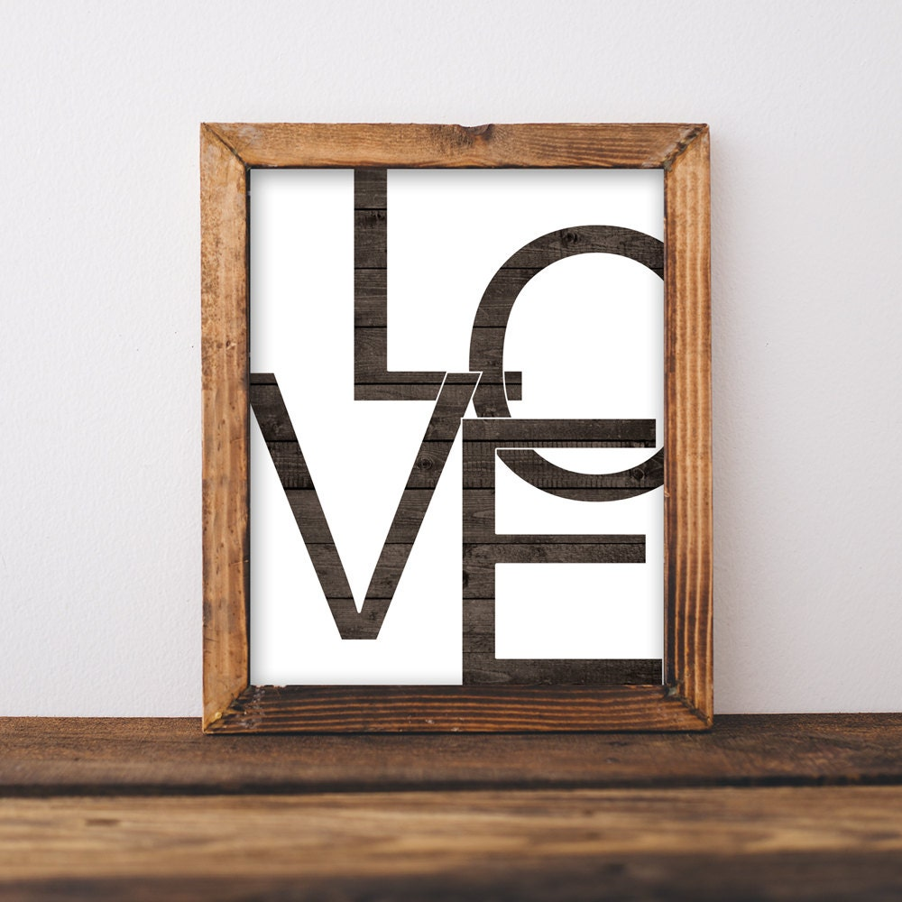 Wooden Love Print Art Printable LOVE Trendy Typography