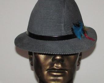 057f3e4a43b Vintage beautiful blue corduroy stetson mallory men hat  Joli chapeau de  velours côtelé stetson mallory sz 6 7 8