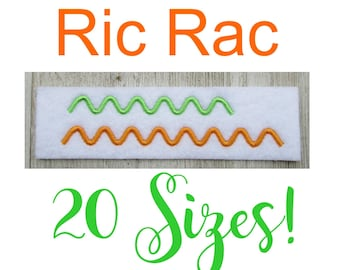 Rick Rack, Ric Rac Embroidery Design, Ric Rac Embellishment, Rick Rack Embellisment, Ric Rac Border, Machine Embroidery Design, 20 Sizes