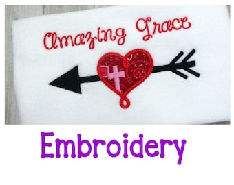 Amazing Grace EMBROIDERY Design, Religious Embroidery Design, Machine Embroidery Applique, Valentine's Day, Easter, Cross,  3 Sizes