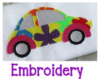 Volkswagen Bug Embroidery Design,  Machine Embroidery, Floral Volkswagen, Love Bug, Beetle, Volkswagen Beetle, VW Embroidery Design, 3 Sizes