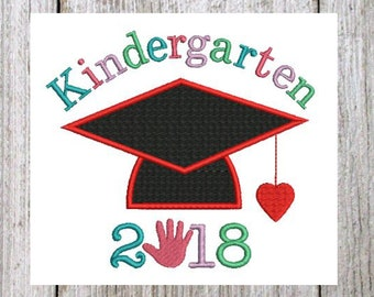 Kindergarten graduation applique design. Kingergarten graduation embroidery designs, Embroidery applique kindergarten graduation,2 Sizes