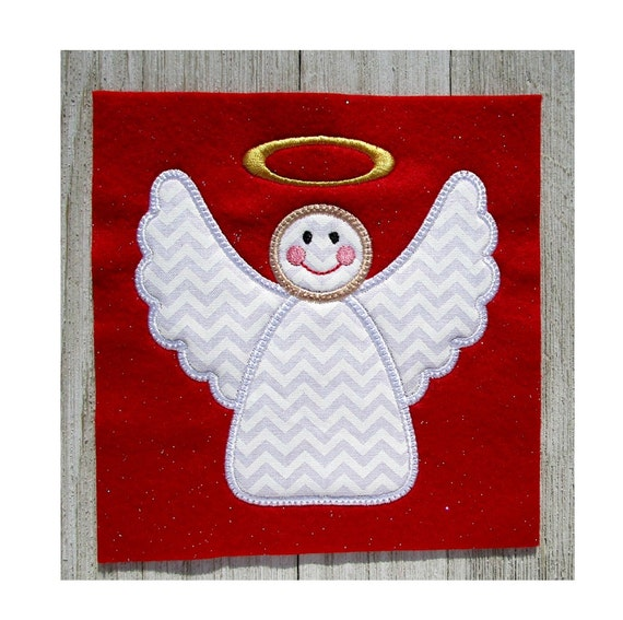 Angel Applique Embroidery Design Christmas Angel Machine Etsy