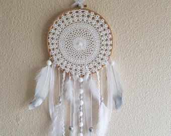 chic and glamorous dream catcher white and silver