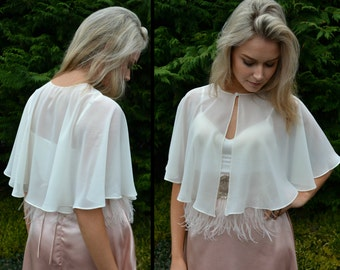 Wedding capelet / cover-up / Sheer capelet / Great for brides / mother of the bride / modest wedding / bridal capelet / 'Dora' / chiffon