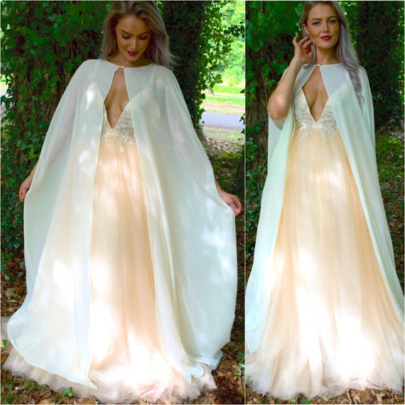Long Wedding Cape With Arm Holes Cover Up Sheer Cape Etsy
