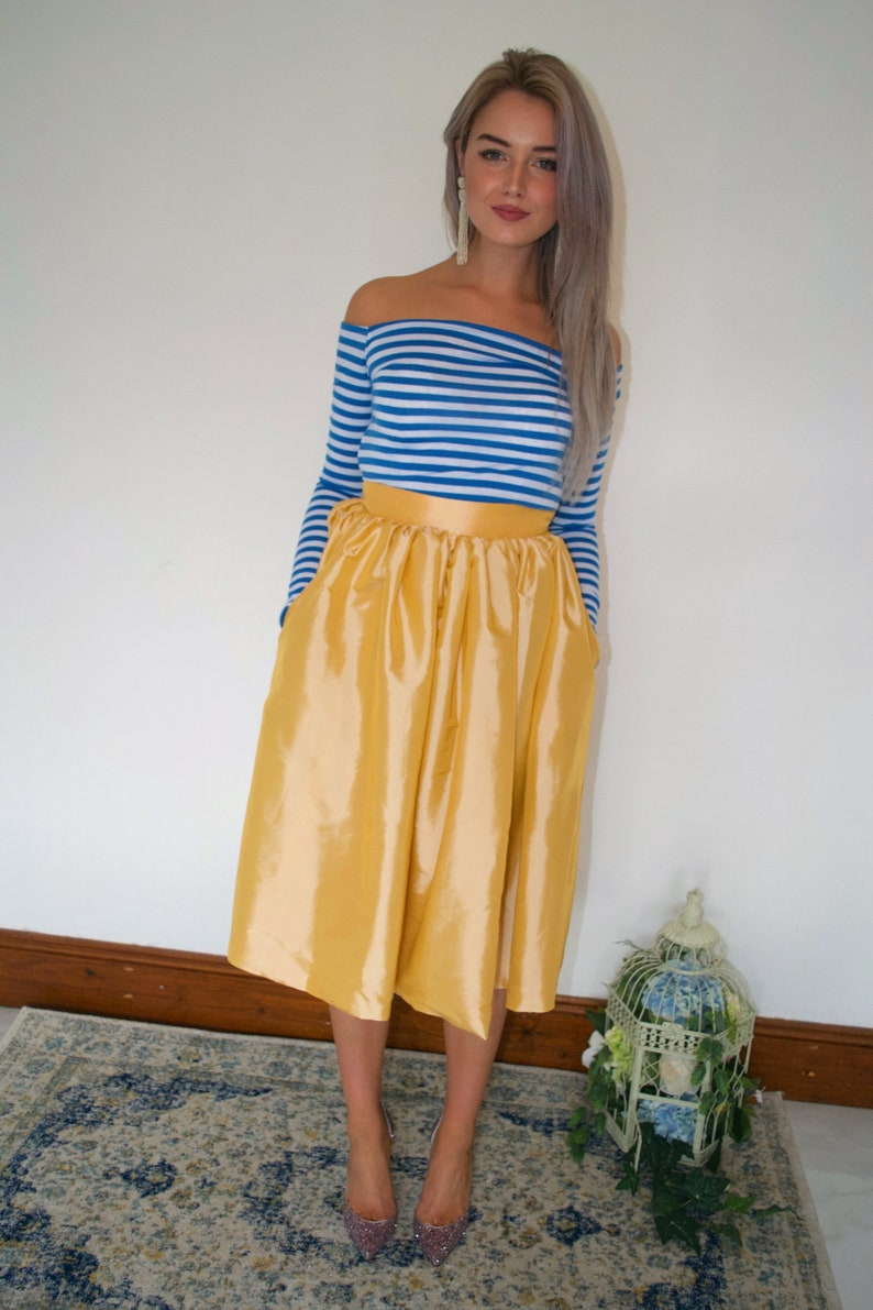 Taffeta yellow full knee skirt  Ready to Ship  mismatched bridesmaids  formal skirt  wedding guest  pockets  preppy  courthouse bride