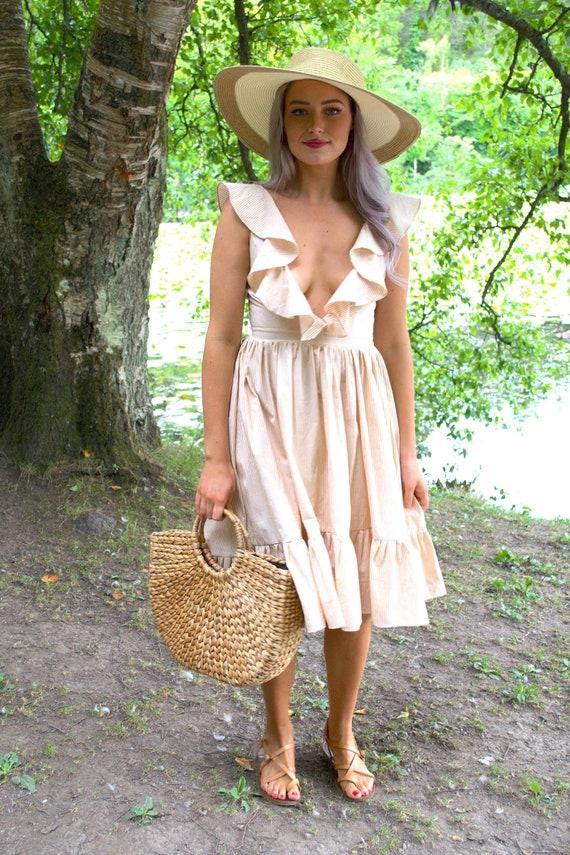 9b3b7ed2e0727 Plunging cotton summer dress / easy boho dress / simple | Etsy