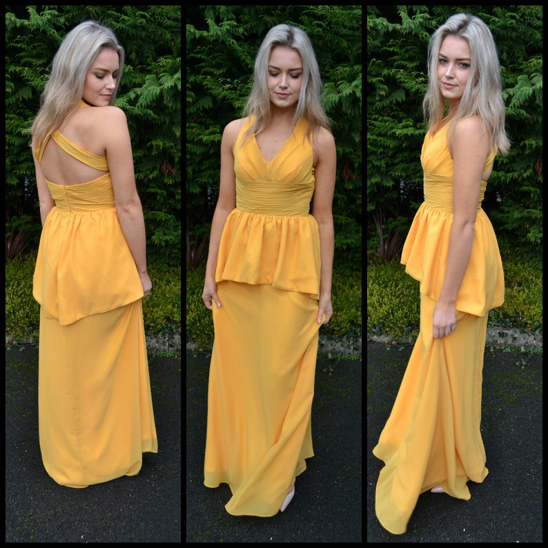 Many colors available! wedding guests Flattering peplum bridesmaids dress -/'Selena/' gorgeous halter gown for bridesmaids