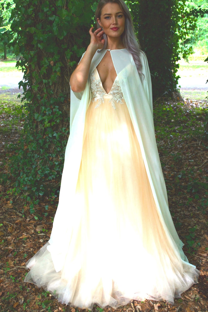 a57fbacfad9 Long wedding cape with arm holes   cover-up   Sheer cape