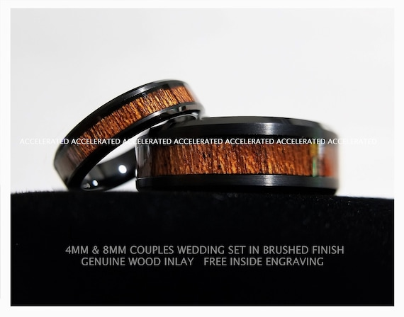 Free Inside Engraving 4MM Womans And 8MM Mens Black Tungsten Wedding Set With Blue Carbon Fiber Inlay And Rose Gold Celtic Scroll