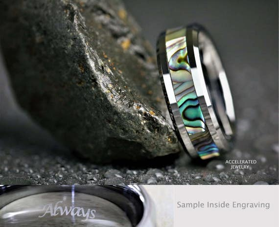 8MM Mens High Polish Silver Tungsten And White CZ With Wood Inlay Wedding Custom Laser Engraved Inside Engagement Promise Ring