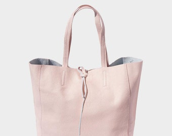 d824850566905 Leather Tote Bag Pink Genuine Pebble Grain Soft Italian Leather Monogrammed  FREE INTERNATIONAL SHIPPING